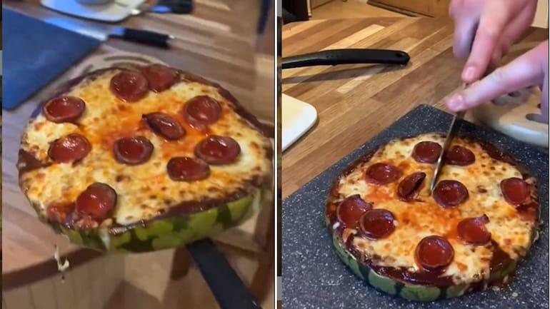 वायरल वीडियो में आदमी बनाता है तरबूज पिज्जा